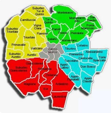 Piantina della capitale, divisa in quartieri